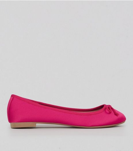 Pink Sateen Ballet Pumps | New Look