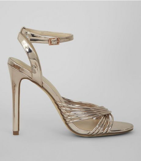 Rose Gold Multi Strap Heeled Sandals | New Look