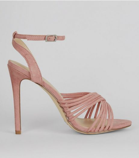Pink Suedette Strappy Heeled Sandals | New Look