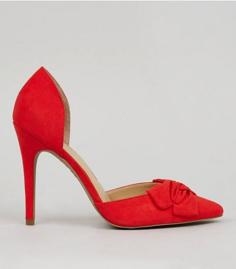 Red Suedette Bow Front Pointed Court Shoes | New Look