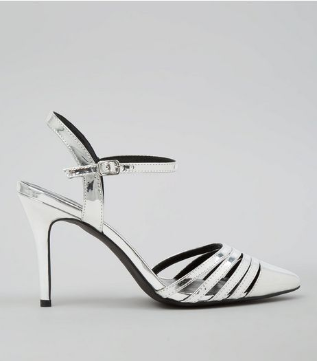Silver Metallic Pointed Ankle Strap Heels | New Look