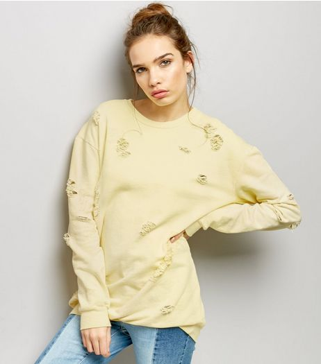 Cameo Rose Yellow Ripped Jumper  | New Look