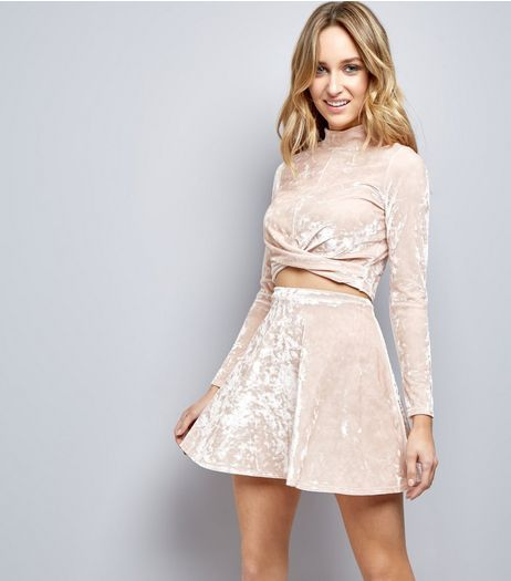 Carpe Diem Shell Pink Velvet Skater Skirt  | New Look