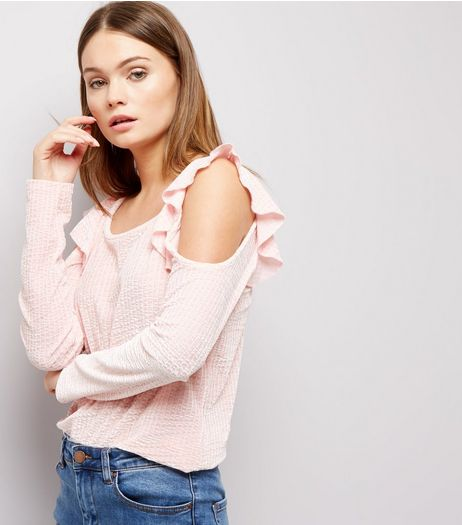 Carpe Diem Shell Pink Frill Trim Velvet Cold Shoulder Top  | New Look