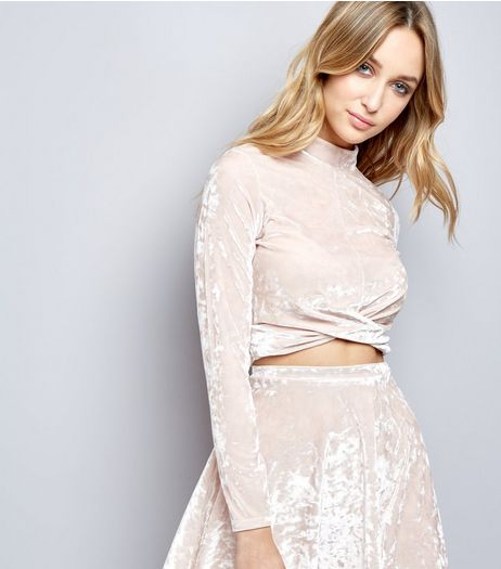 Carpe Diem Shell Pink Velvet Twist Front Crop Top | New Look