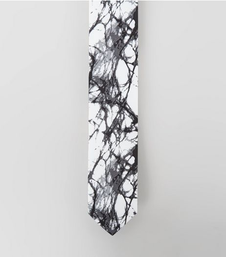 White Marble Print Tie | New Look