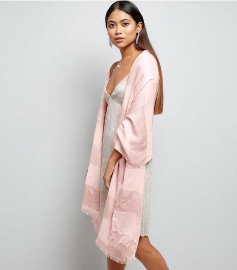 Pink Metallic Colour Block Scarf  | New Look