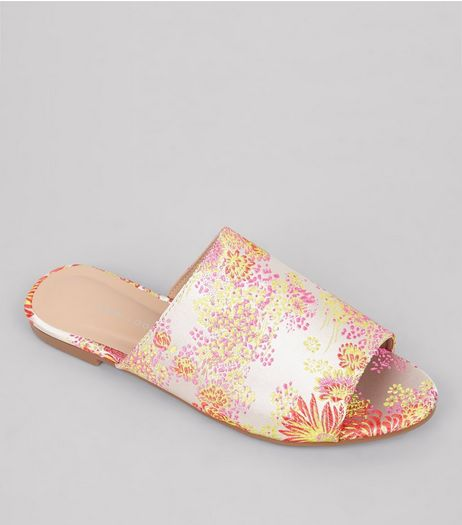Pink Floral Brocade Mules | New Look
