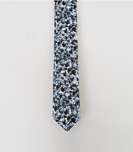 Blue Paint Splash Tie | New Look