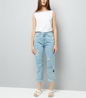 Blue Ripped Roll Hem Mom Jeans