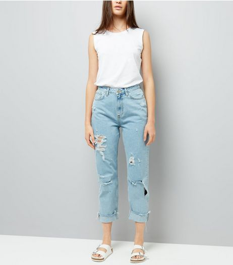 Blue Ripped Roll Hem Mom Jeans | New Look