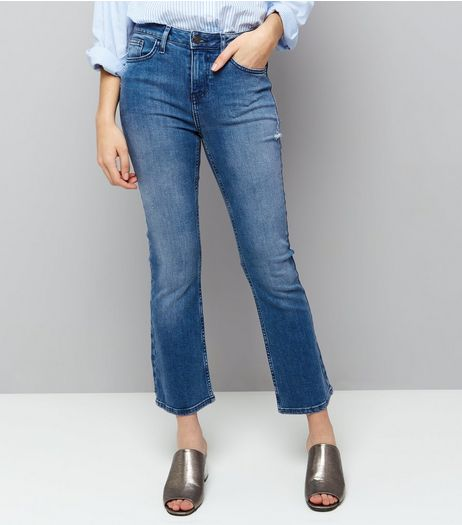 Blue Kick Flare Cropped Jeans  | New Look