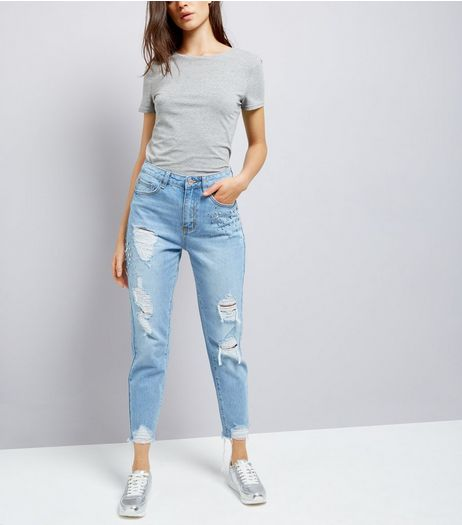 Blue Studded Mom Jeans  | New Look