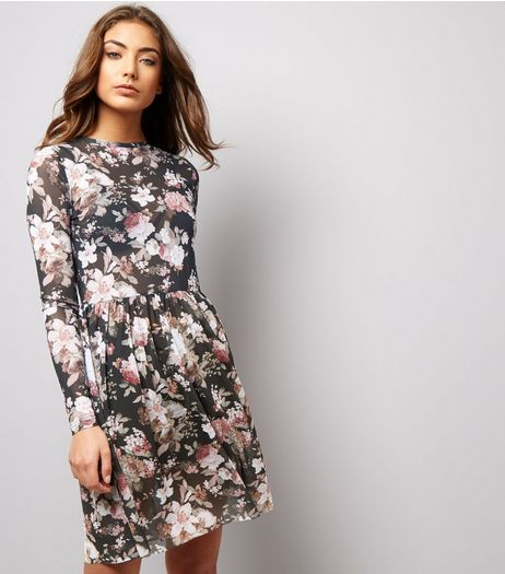Grey Mesh Floral Print Skater Dress | New Look