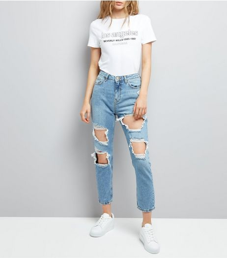 Blue Ripped Tori Skinny Mom Jeans  | New Look
