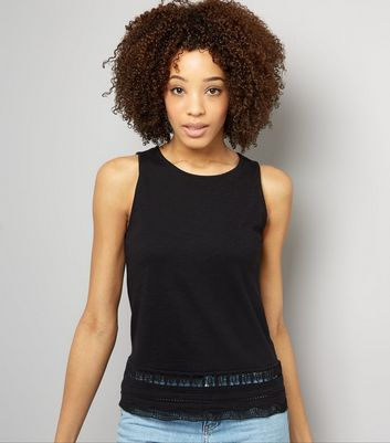 Black Cut Out Trim Sleeveless Top