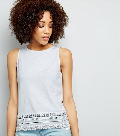 White Cut Out Lace Trim Sleeveless Top  | New Look