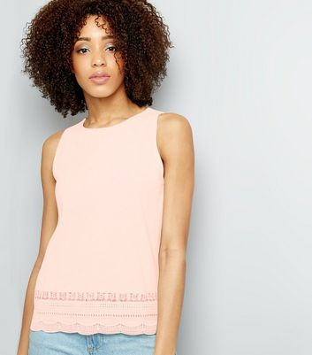 Pink Cut Out Trim Sleeveless Top