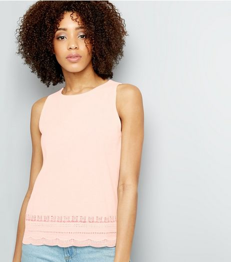 Pink Cut Out Trim Sleeveless Top  | New Look