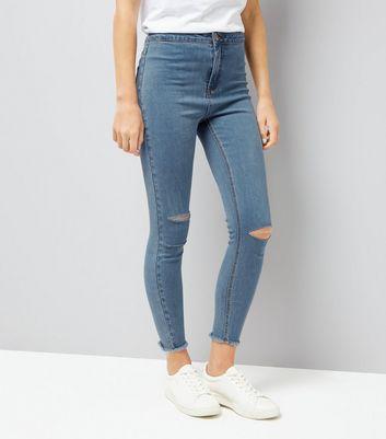 Blue Ripped Knee Fray Hem Skinny Jeans
