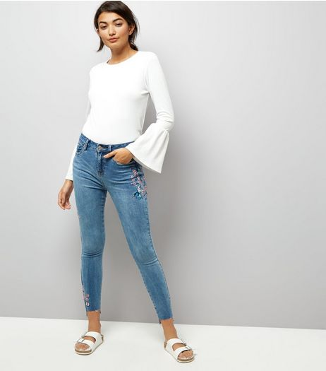 Blue Bird Embroidered Skinny Jenna Jeans | New Look