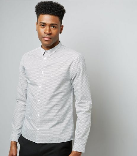 Off White Grain Print Long Sleeve Shirt | New Look