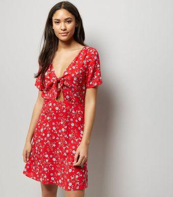 Red Floral Print Tie Front Skater Dress