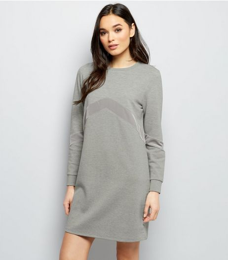 Grey Chevron Velvet Panel T-Shirt Dress  | New Look