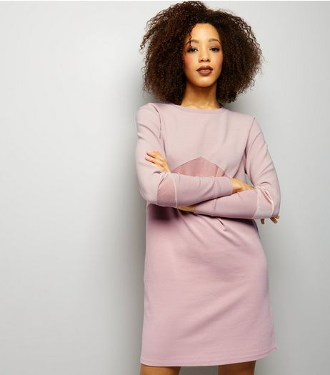 Shell Pink Chevron Panel T-Shirt Dress | New Look