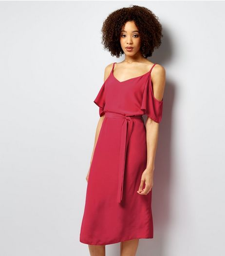 Bright Pink Cold Shoulder Midi Slip Dress  | New Look