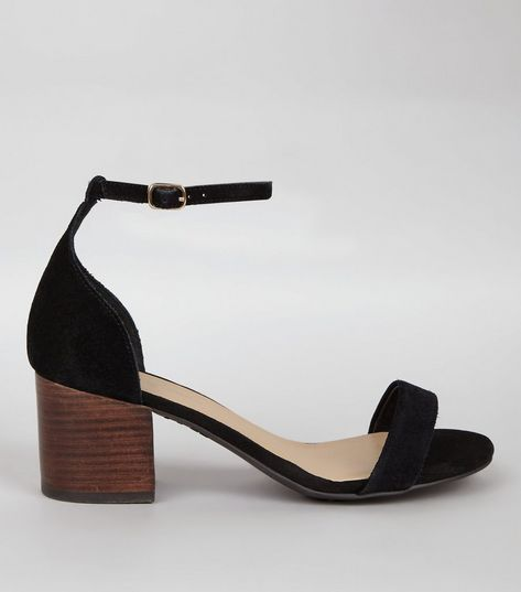 Wide Fit Black Suede Ankle Strap Heels | New Look