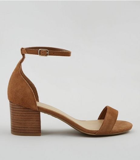 Wide Fit Brown Suede Ankle Strap Heels | New Look