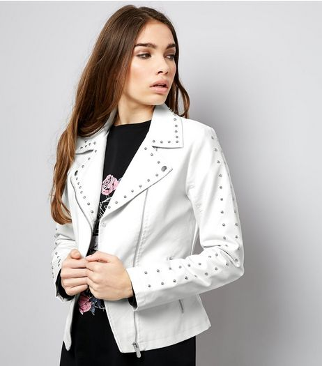 Anita and Green White Studded Leather-Look Jacket  | New Look