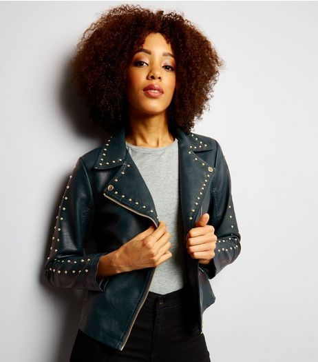 Anita and Green Dark Green Studded Leather-Look Jacket  | New Look