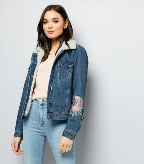 Anita and Green Blue Floral Patch Denim Jacket  | New Look