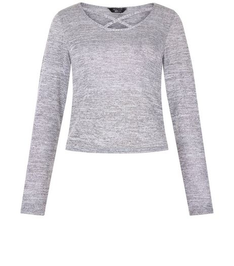 Grey Lattice Front Long Sleeve Top  | New Look