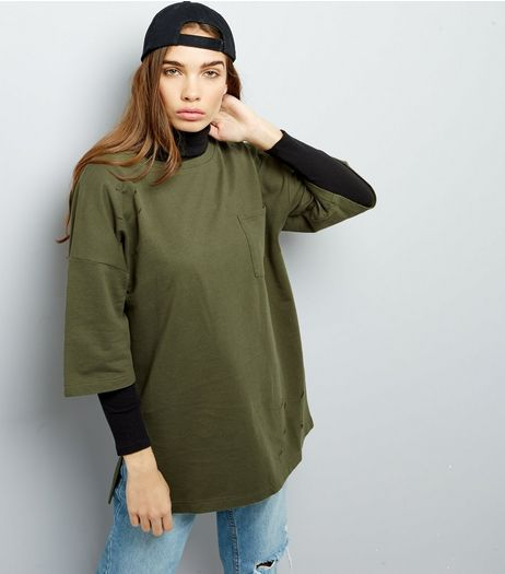 Anita And Green Khaki Ripped Pocket Front Oversized T-Shirt | New Look