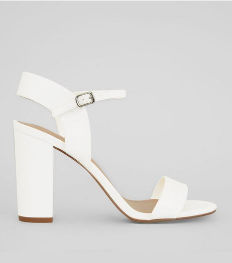 White Ankle Strap Heels | New Look