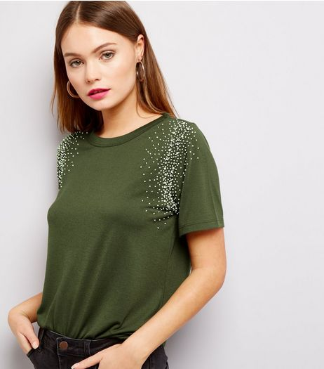 Anita and Green Khaki Embellished Trim Dip Hem T-Shirt  | New Look