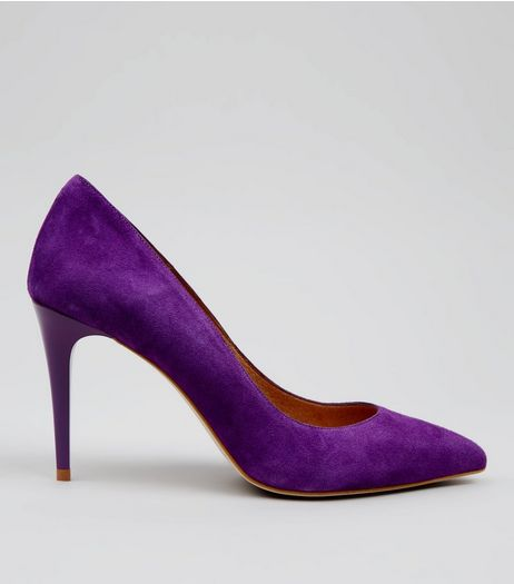 Purple Suede Pointed Matte Heels | New Look