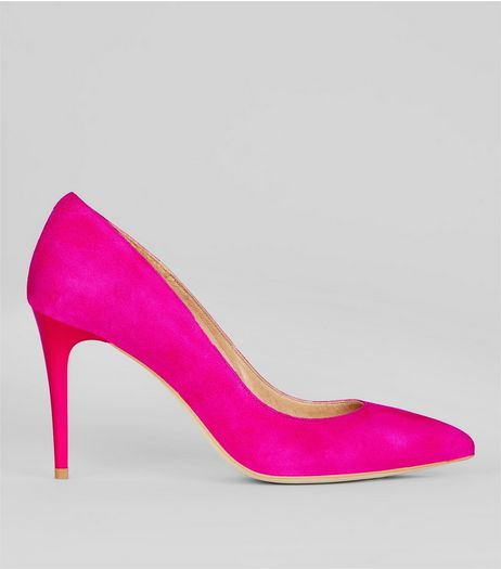 Bright Pink Suede Pointed Matte Heels | New Look