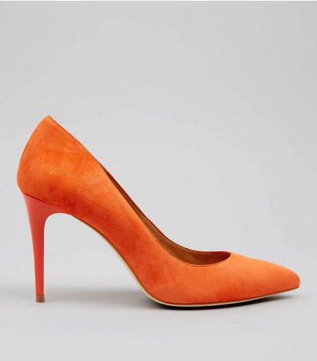 Orange Suede Pointed Matte Heels | New Look