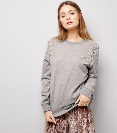 Anita and Green Grey Embellished Shoulder Sweater | New Look