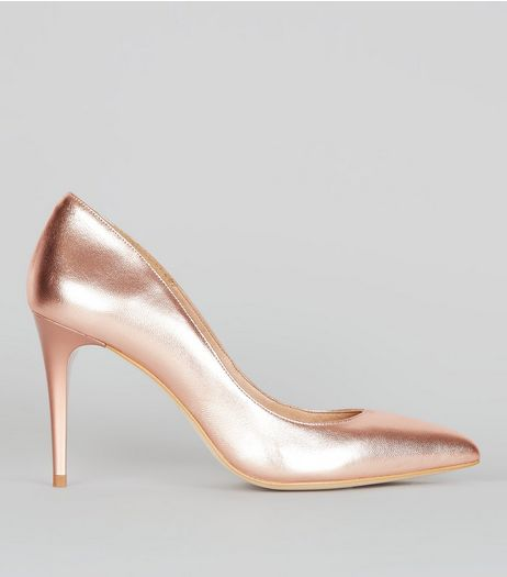 Rose Gold Leather Pointed Metal Heels | New Look