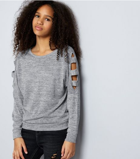 Teens Grey Fine Knit Cut Out Cold Shoulder Jumper | New Look
