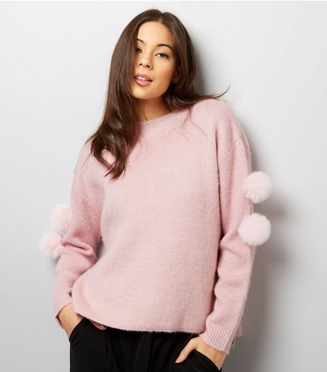 Anita And Green Pink Pom Pom Sleeve Jumper | New Look