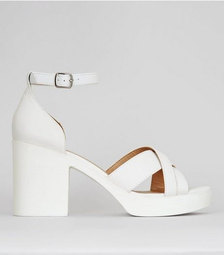 White Platform Cross Strap Heels | New Look