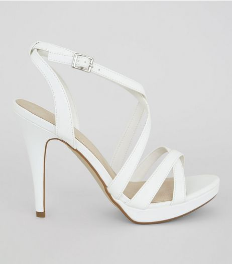 White Comfort Platform Heeled Sandals | New Look