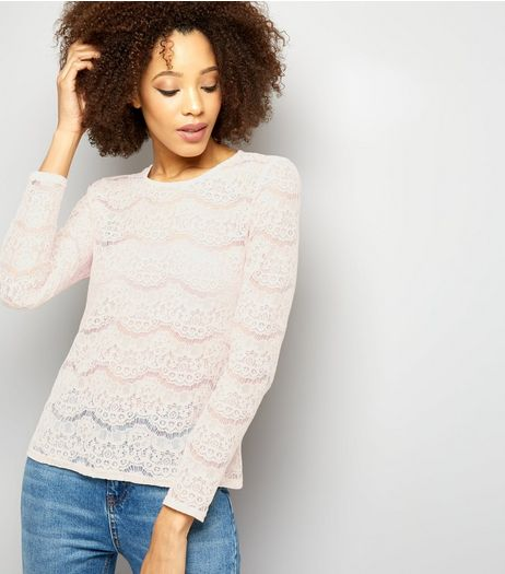 Shell Pink Cut Out Lace Long Sleeve Top  | New Look
