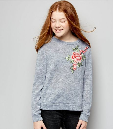 Teens Grey Fine Knit Floral Applique Jumper | New Look